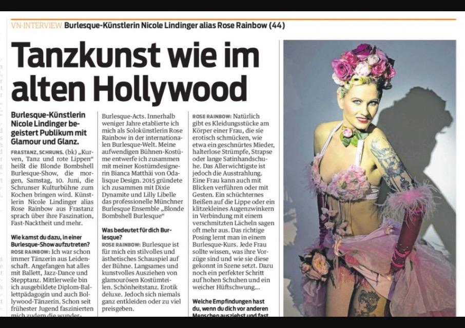 Burlesque Tänzerin aus München Rose Rainbow von Blonde Bombshell Burlesque. Burlesque Show buchbar weltweit