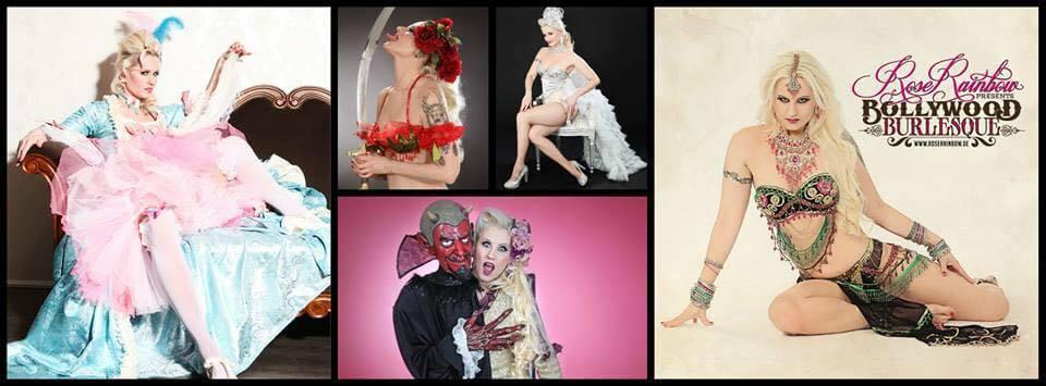 Burlesque Show buchen mit der Burlesque Tänzerin Rose Rainbow Blonde Bombshell Burlesque aus München buchbar Deutschland, Österreich, Schweiz, weltweit