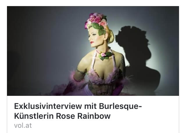 Burlesque Tänzerin Burlesque Show Rose Rainbow Blonde bombshell Burlesque Interview