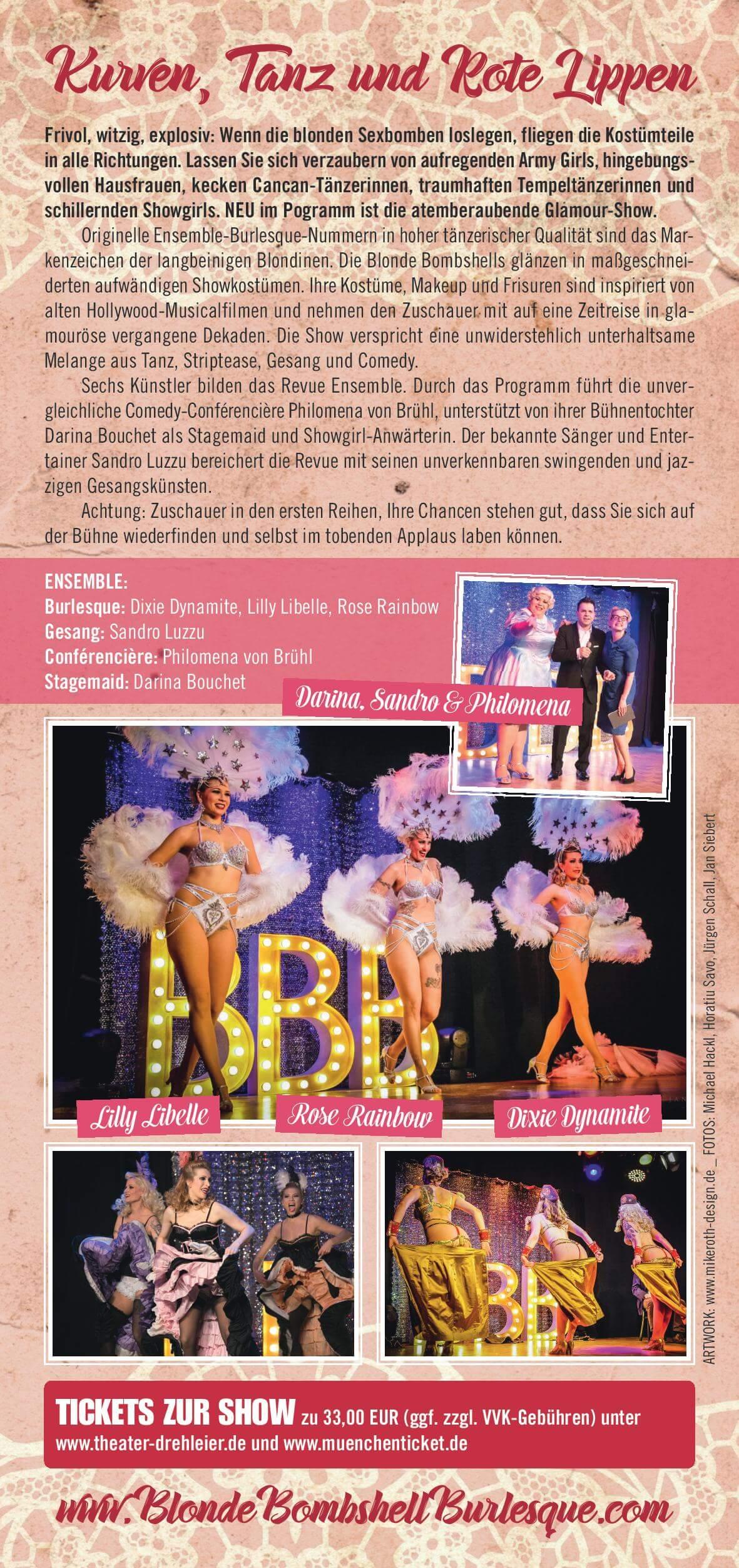 Blonde Bombshell Burlesque Flyer Kurven, Tanz und rote Lippen